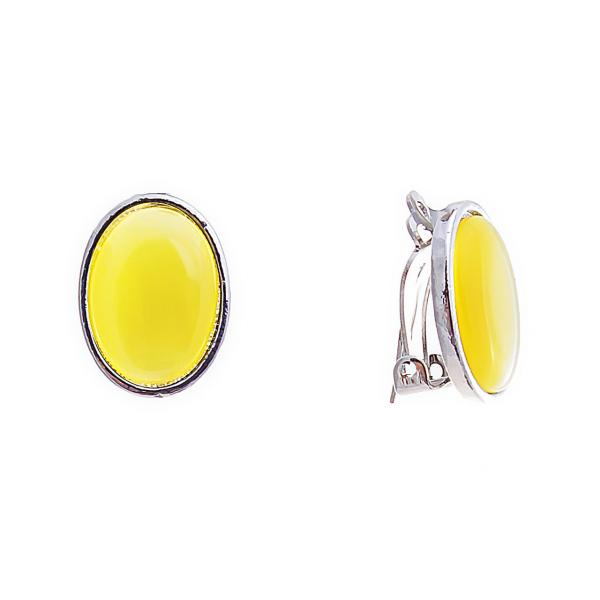 Клипсы Овал с жёлтым кабашоном,Кошачий глаз итальянская застёжка,металл под серебро,20мм