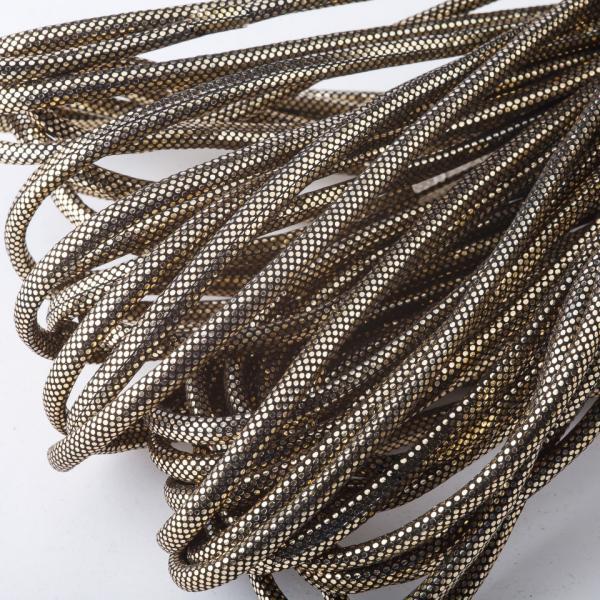 Фото Фурнитура для создания  украшений, Проволока, струна, монопроволока, шнуры шамбала, резинки,  нитки для бус Шнур для изготовления украшений золотистый на черном металик d-4,5мм за 1метр