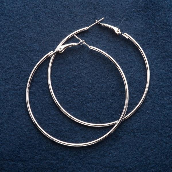 Серьги кольца d-6см серебристые