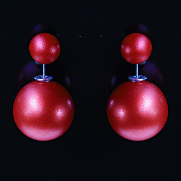 """[15/8 мм] Cерьги  пуссеты шары """"матрешка"""" Dior матовые красные"""