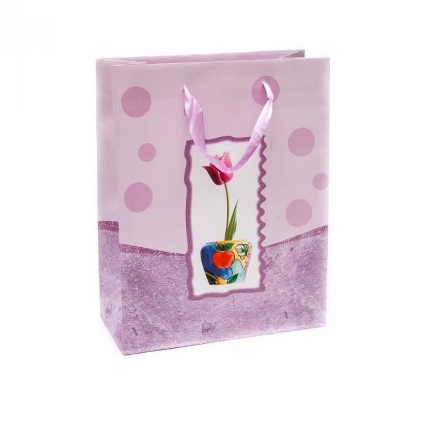 """Пакет подарочный бумажный сиреневый """"Тюльпан"""" 33х26 см"""