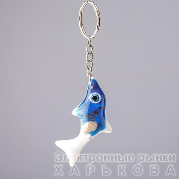 """Брелок """"Морской"""" Рыбка Акула синяя L-11см акрил - Брелоки на рынке Барабашова"""