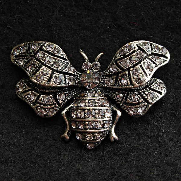[25/40 мм] Брошь темный металл Мотылек со стразами дизайн насекомого