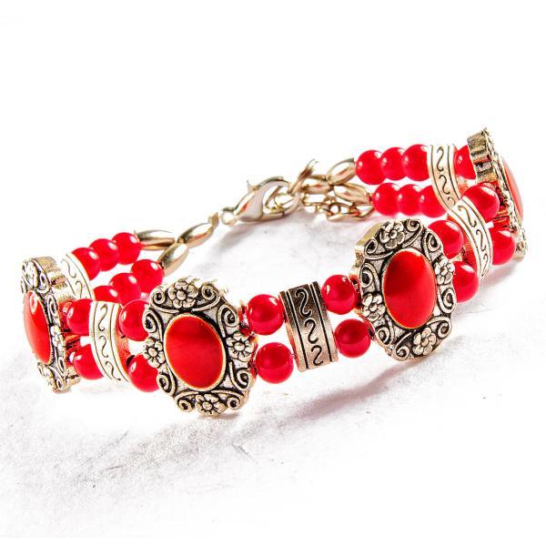 Браслет металл замок карабин на цепочке Цветочки узоры красные камни двухрядный