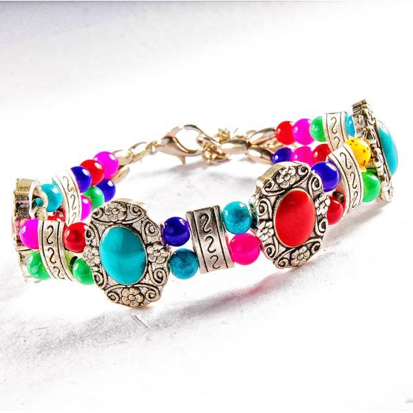 Браслет металл замок карабин на цепочке Цветочки узоры разноцветные камни двухрядный