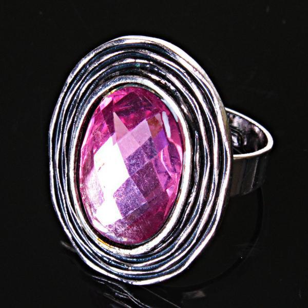 Кольцо без р-р  гнездо кристалл сиреневый