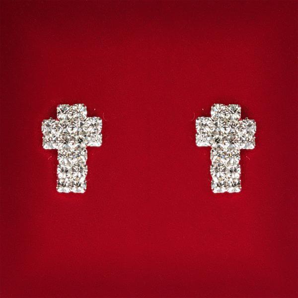 [12x8 мм] Серьги женские белые стразы светлый металл свадебные вечерние гвоздики (пуссеты) крестик мини