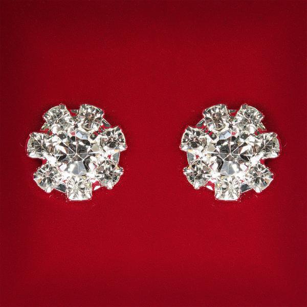 [12x12 мм] Серьги женские белые стразы светлый металл свадебные вечерние гвоздики (пуссеты) цветочек мини