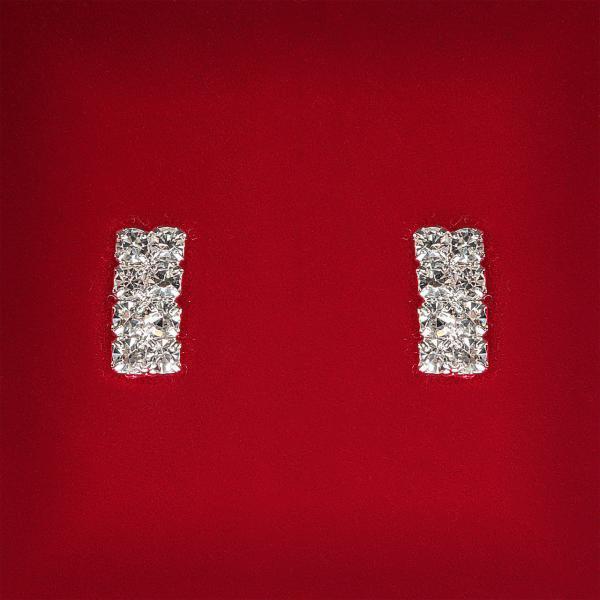 [13x6 мм] Серьги женские белые стразы светлый металл свадебные вечерние гвоздики (пуссеты) прямоугольные мини