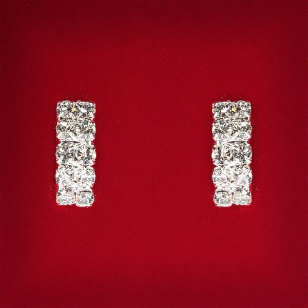[20 мм] Серьги женские белые стразы светлый металл свадебные вечерние гвоздики (пуссеты) прямоугольные средние