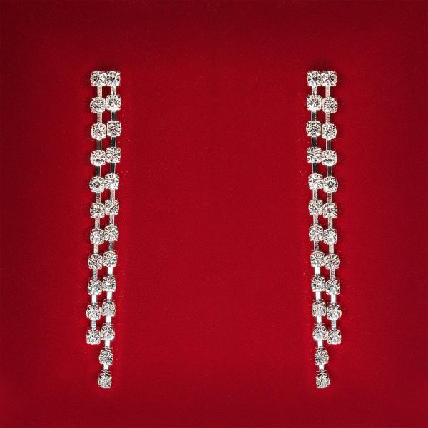 Серьги белые стразы светлый металл вечерние подвески 2 ряда L-6.5 см