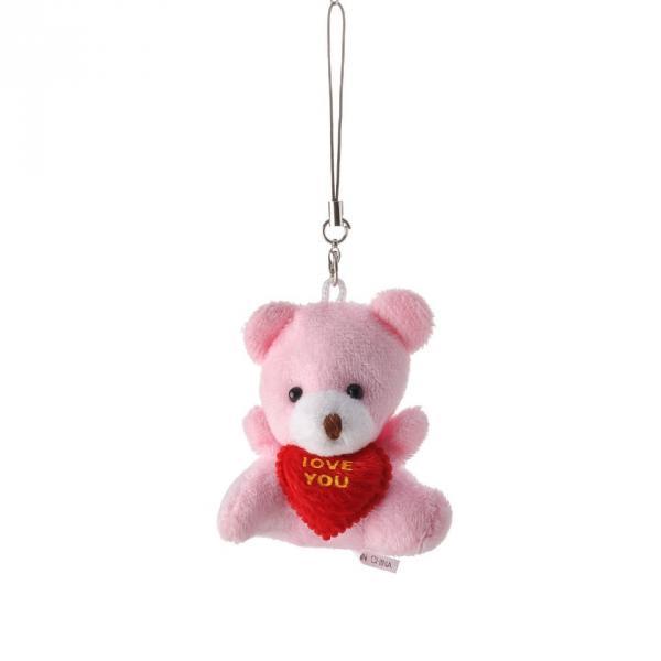 Брелок Мишка 6см флис розовый