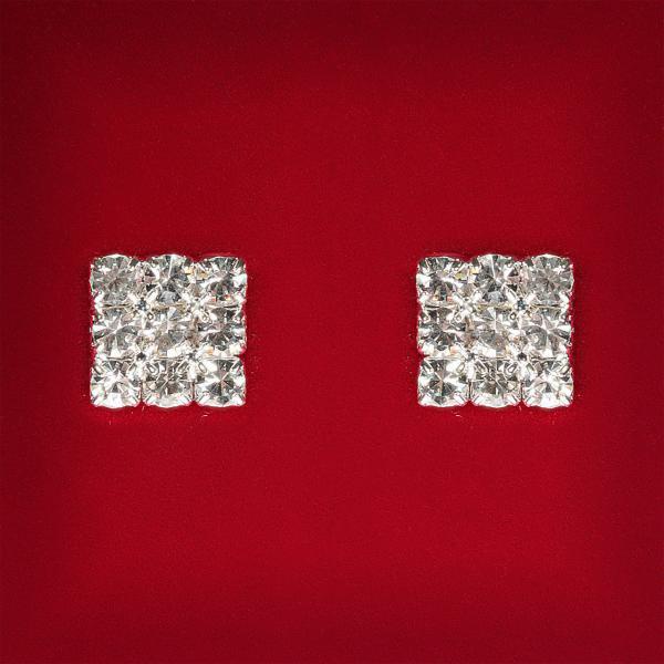 [10x10 мм] Серьги женские белые стразы светлый металл свадебные вечерние гвоздики (пуссеты) квадрат мини