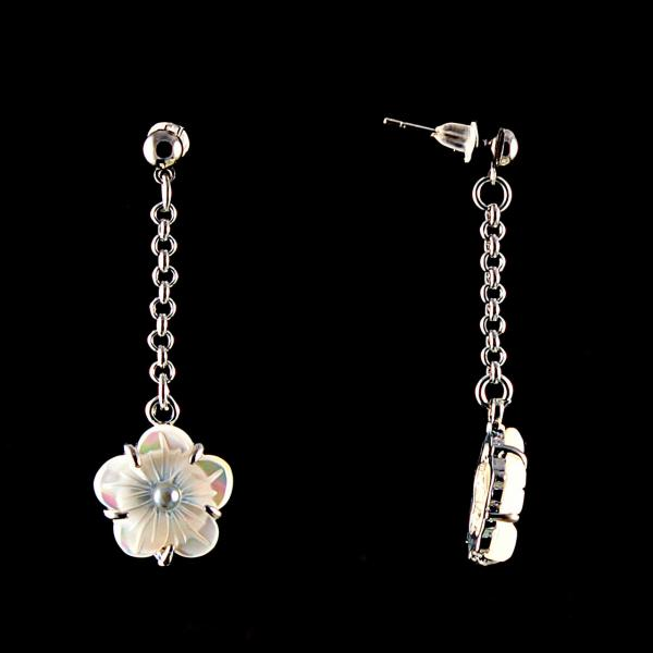 """Серьги-подвески нат. перламутр со стразом,белый """"Цветок"""" серебристый металл, Ø15mm"""
