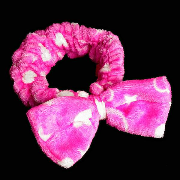 Повязка на голову розовая с бантом из флиса,10см