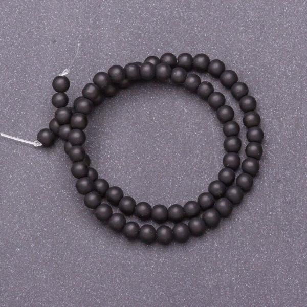 Бусины натуральный камень на нитке Шунгит d-6мм L-37см
