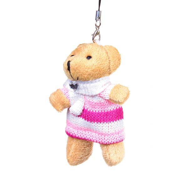 Брелок мягкая игрушка медведь в кофточке страза