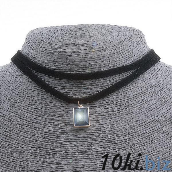 Чокер бархат на шею двойной с подвеской синей в оправе из желтого металла,32см - Колье, ожерелья, бусы, чокеры в магазине Одессы