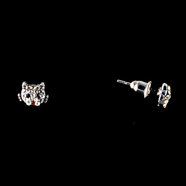 Серьги-пусеты Кошки украшены стразами,металл под серебро, 1,5см