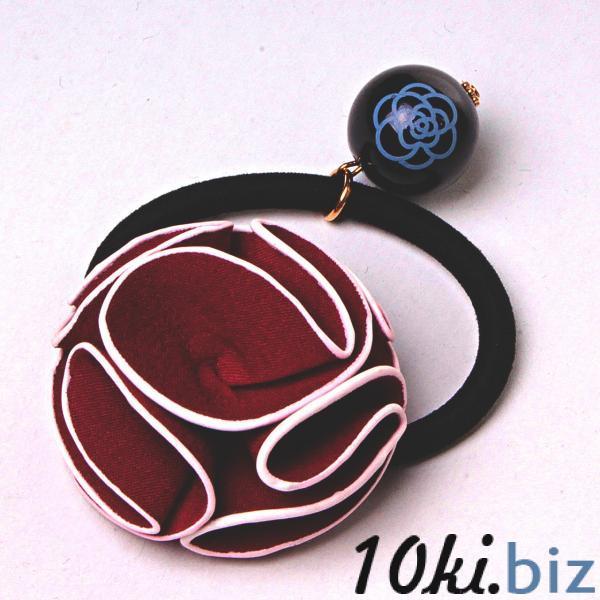 Резинка для волос резинка черный бархат бантик роза бордовый подвеска - Резинки и банты для волос в магазине Одессы