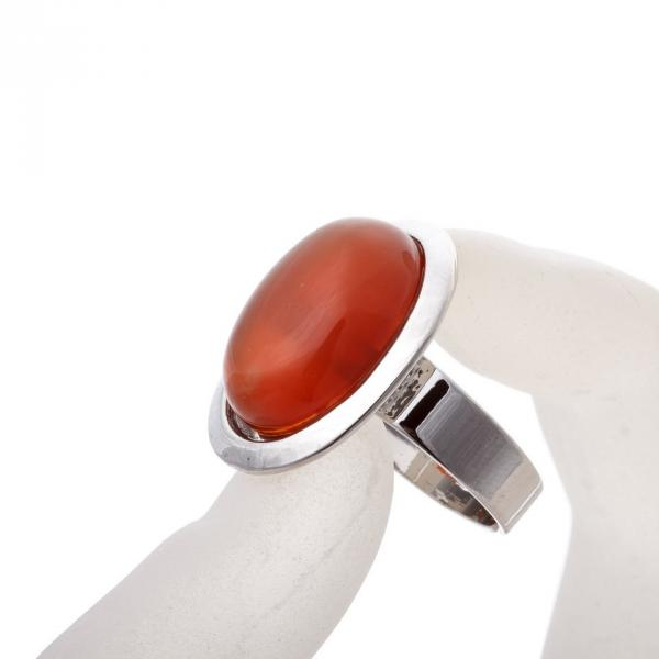 """Кольцо Сердолик гладкая оправа плоская  """"М"""" овальный  камень 2,2*1,7см без р-р"""