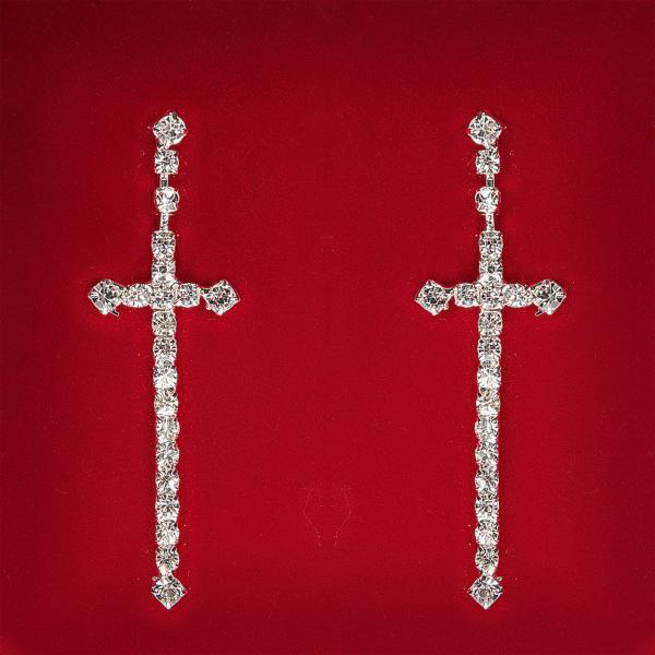 [60 мм] Серьги женские белые стразы светлый металл свадебные вечерние гвоздики (пуссеты) крестик длмнные