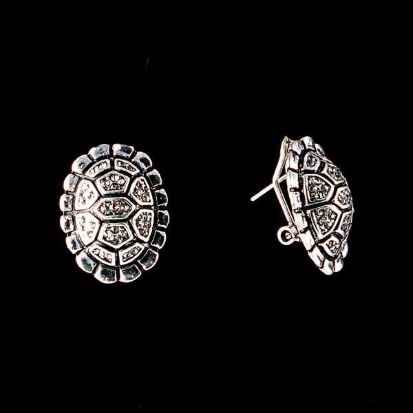 Серьги Черепаха, белые стразы, металл под серебро, итальянский замок, 2,5см