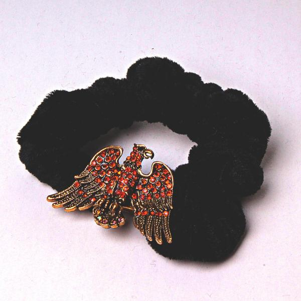 Резинка для волос резинка черный бархат Феникс страза бронза