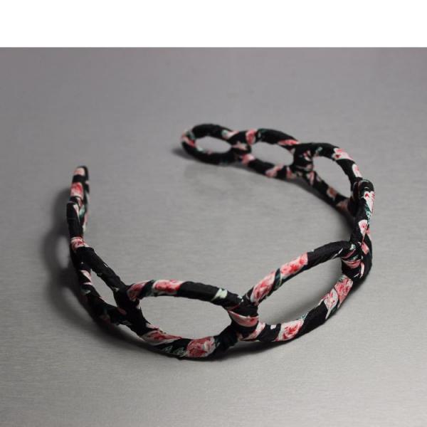 Уценка  Обруч для волос цветочный принт розовый