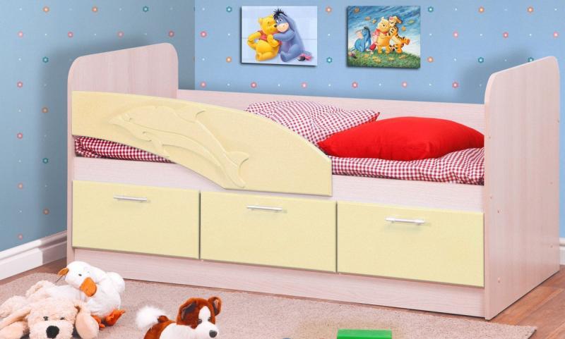 Фото Детская мебель Кровать одинарная Дельфин (Олмеко)