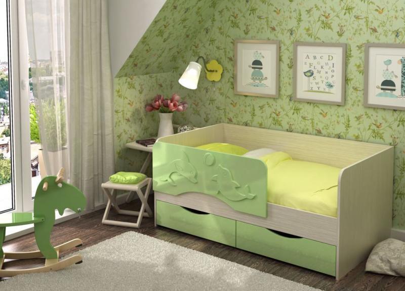 Фото Детская мебель Кровать Алиса (Два дельфина) 1,6м (1,4м, 1,8м) Стендмебель