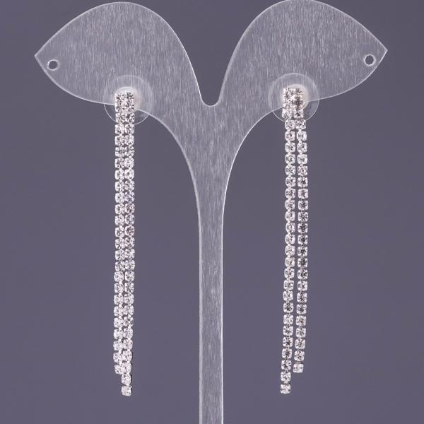 """Серьги стразовые белые двухрядный каскад L-6см b-6мм цвет металла """"серебро"""""""