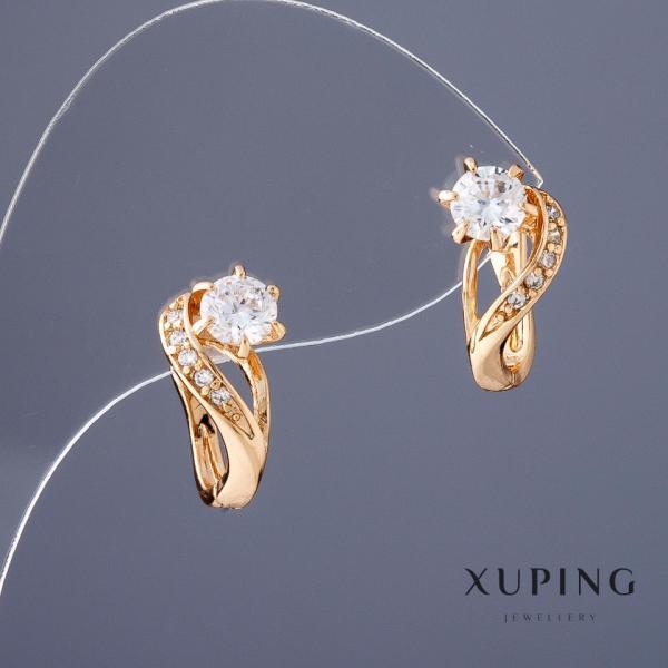 """Серьги Хьюпинг цвет """"золотой"""" белые камни L1,6-см"""