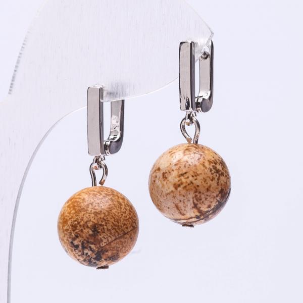 Серьги Элегант Яшма пейзажная шарик 14 мм англ. Застежка