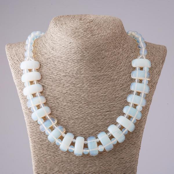 Ожерелье Лунный камень Клеопатра звено 12*25 мм и шарик 10mm L50см