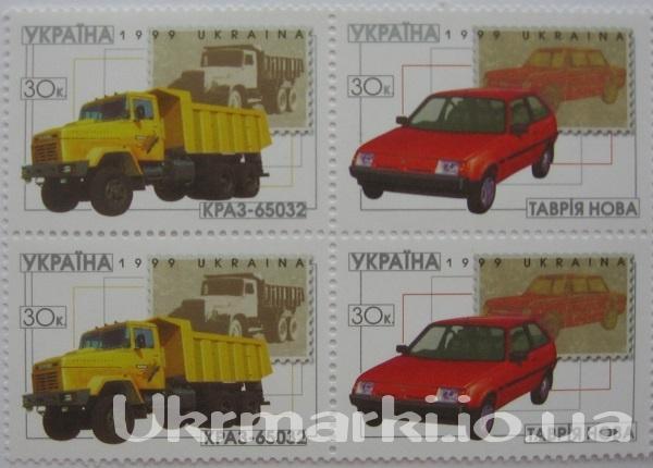 1999 № 281-282 угловая часть из 2-х сцепок почтовых марок Автомобили