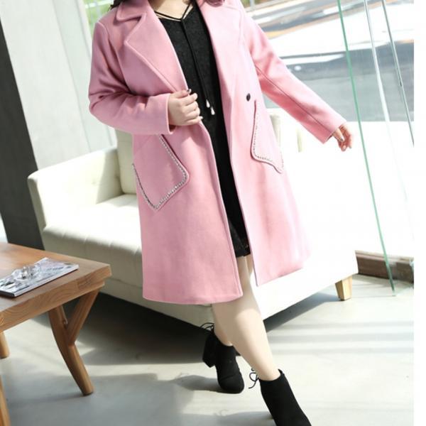 Шерстяное пальто со стразами размер 46-74