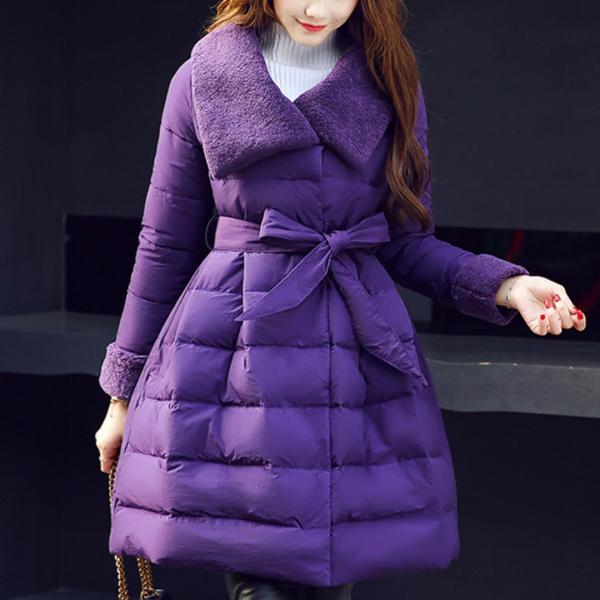 Пуховое пальто с поясом размеры 46-62