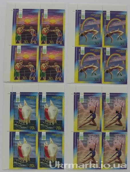 2000 № 325-328 угловые квартблоки почтовых марок Летняя Олимпиада Сидней СЕРИЯ