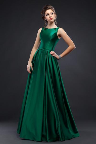 Длинное атласное вечернее платье Шанель