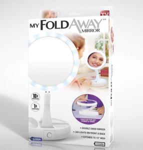Фото Красота и здоровье Зеркало с подсветкой и увеличением для макияжа My Fold Away Mirror