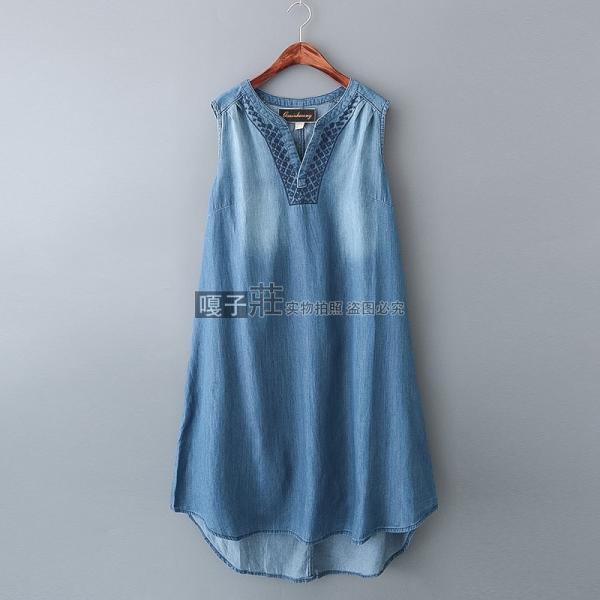Джинсовая туника/платье с вышивкой