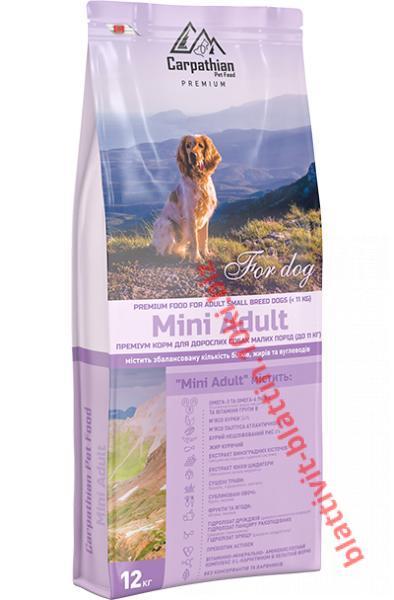 Фото Сухой корм для собак ТМ «Пан Пес» Сухой корм Carpathian Pet Food – Mini Adult Для взрослых собак малых пород