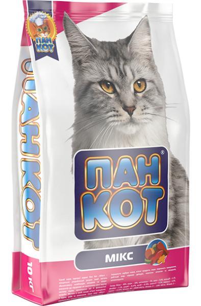 Сухой корм Пан Кот — Микс Сухой полноценный корм для кошек с содержанием рыбы, говядины, курицы