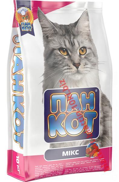 Фото Сухой корм для кошек ТМ «Пан Кот» Сухой корм Пан Кот — Микс Сухой полноценный корм для кошек с содержанием рыбы, говядины, курицы