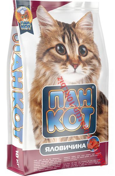 Фото Сухой корм для Кошек ТМ «Пан Кот» Сухой корм для кошек Пан Кот — Яловичина Специально разработанный рецепт на основе говяжьего мяса