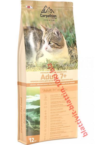 Фото Сухой корм для кошек ТМ «Пан Кот» Сухой корм Carpathian Pet Food — Adult 7+ Для котов и кошек преклонного возраста