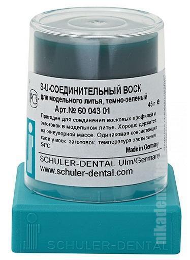 Фото Для зуботехнических лабораторий, МАТЕРИАЛЫ, Воска Шуллер воск (моделировочный, соединительный,темно-зеленый), конус 45гр