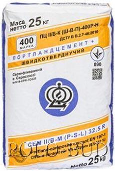 Цемент М 400 (ПЦ ІІ/Б-К(Ш-В-П)-400Р-Н), 25кг. (Ивано-Франковск)