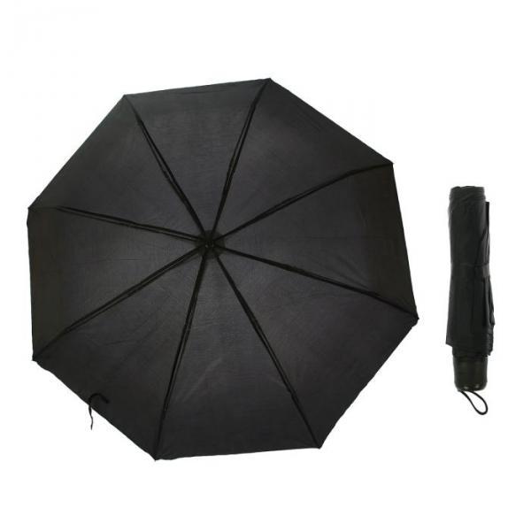 Зонт механический, однотонный, R=48см, цвет чёрный